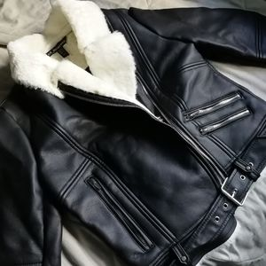 Zara fur lined moto jacket